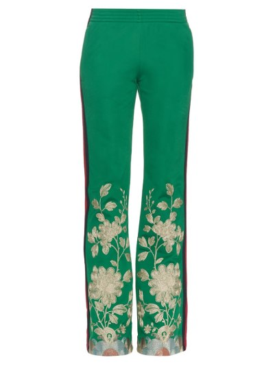 Gucci green embroidered track pants as seen on Rihanna