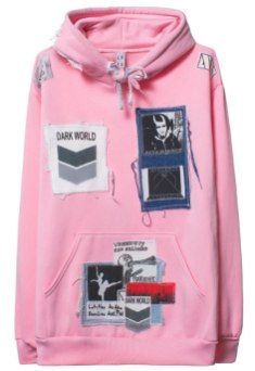 Left Hand x Dark World x Early Victims Darkwood patches pink hoodie as seen on Rihanna
