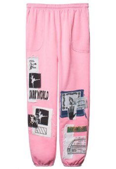 Left Hand x Dark World x Early Victims Darkwood patches pink sweatpants as seen on Rihanna