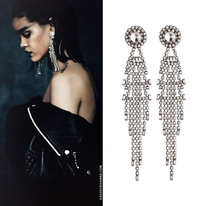 Rihanna Anti photo shoot Dannijo Gale crystal earrings