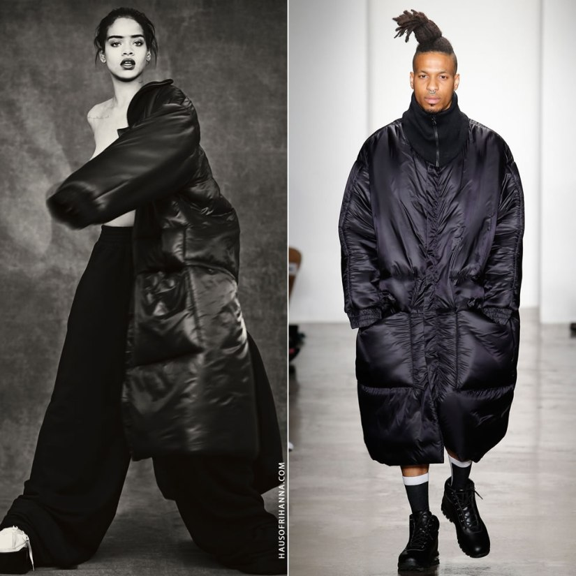 Rihanna Anti photo shoot Jessica Walsh oversize black puffer coat