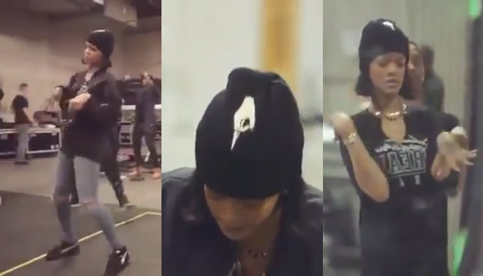 Rihanna at Anti World Tour rehearsals wearing 3.1 Phillip Lim cropped flight bomber jacket, Pantheone buck beanie, Trapstar Dream Team t-shirt and Puma by Rihanna black creepers