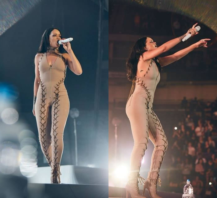 Rihanna Anti World Tour costumes Adam Selman lace-up detail jumpsuit and Manolo Blahnik ankle boots