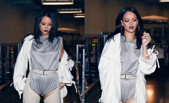 Rihanna Anti World Tour costumes Adam Selman grey romper and Jacquie Aiche hoop earrings