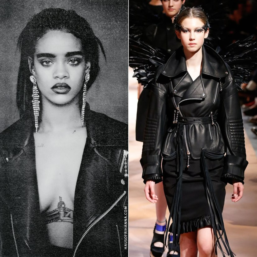 Rihanna Bitch Better Have My Money single cover Undercover oversize leather biker jacket