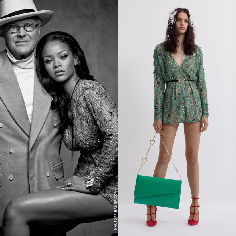 Rihanna British Vogue magazine April 2016 Alessandra Rich embellished lace green romper playsuit