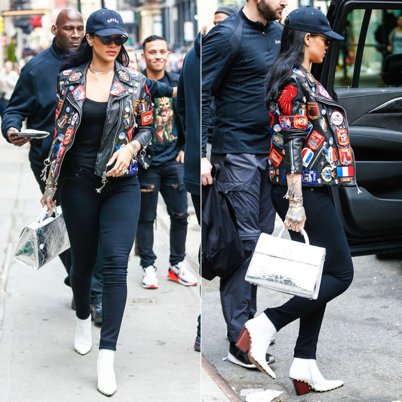 Rihanna Dries Van Noten patches leather jacket, Citizens of Humanity Avedon Slick black skinny jeans, Celine studded ankle boots, Dior Diorever silver tote, Adam Selman x Le Specs The Hunger black sunglasses, X-Girl black logo cap, Chopard Happy Hearts diamond bracelet
