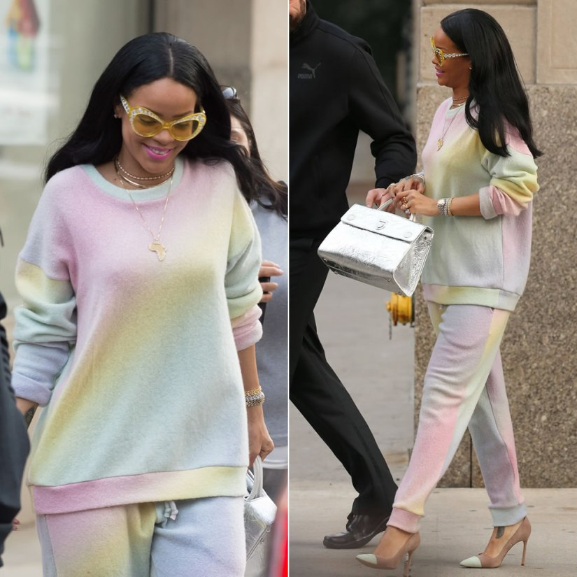 Rihanna The Elder Statesman pastel rainbow sweatsuit, Manolo Blahnik Bipunta cap-toe suede pumps, Moschino yellow crystal cat-eye sunglasses, Dior silver Diorever handbag, Chopard Happy Hearts bracelets