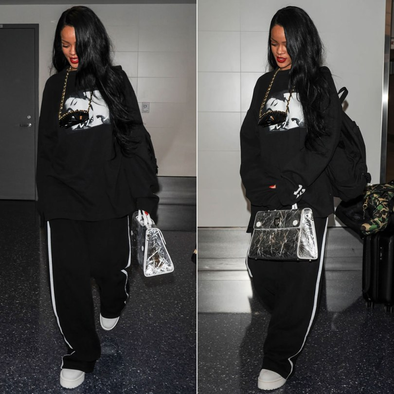 Rihanna Fenty Puma graphic sweatshirt and white platform combat boots, Dior Spring 2016 silver Diorever tote handbag, vintage Chanel chain sunglasses