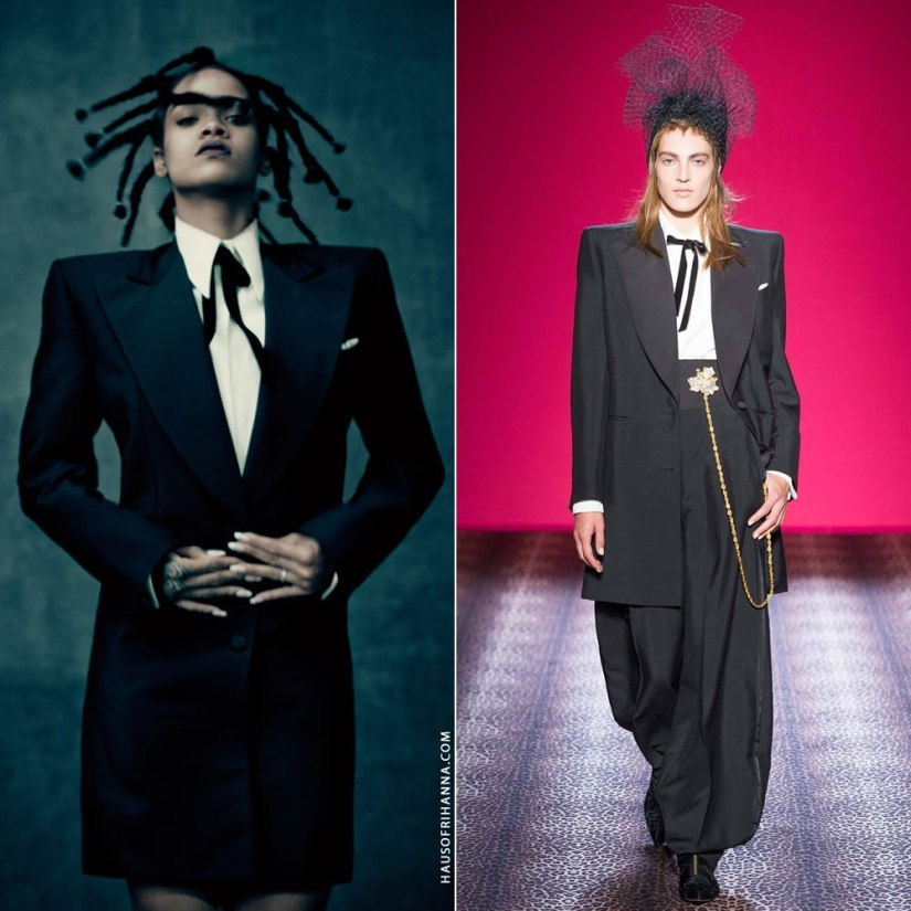 Rihanna Anti photo shoot Schiaparelli Fall 2014 couture oversized tuxedo jacket