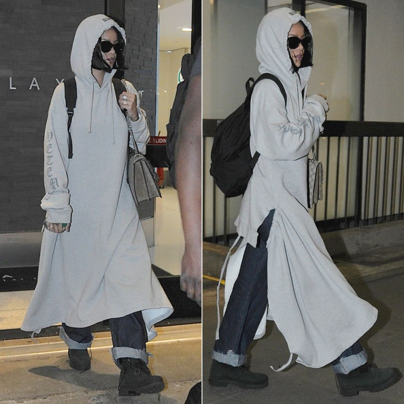 Rihanna Vetements hooded sweatshirt dress, Timberland black suede boots, Gucci Dionysus supreme embroidered handbag