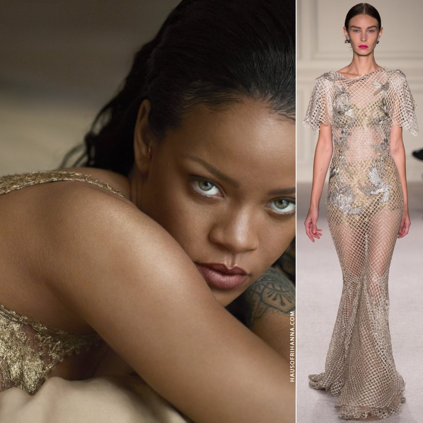 Rihanna Us Vogue April 2016 Marchesa gold lace bralette