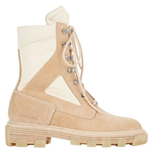 Balenciaga suede and canvas lug sole boots as seen on Rihanna