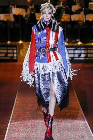 Marc Jacobs Spring 2016 fringed US flag jacket as seen on Rihanna