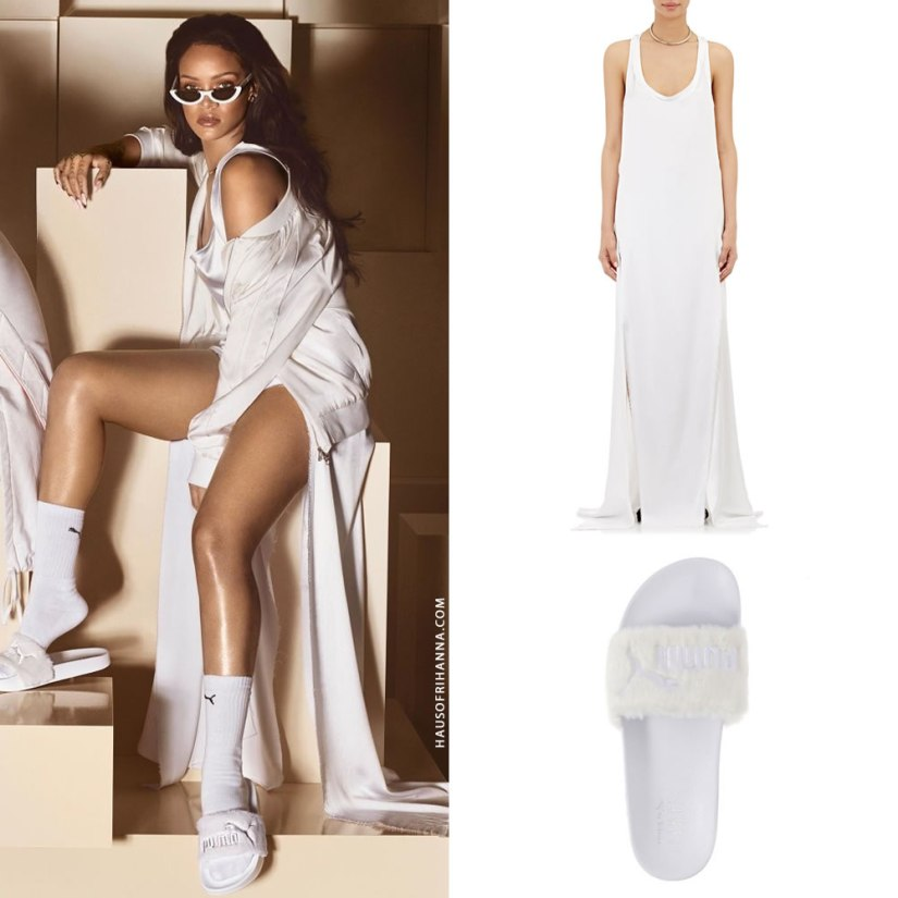 Rihanna Puma white fur slides, Juan Carlos Obando satin racerback gown with raw edge