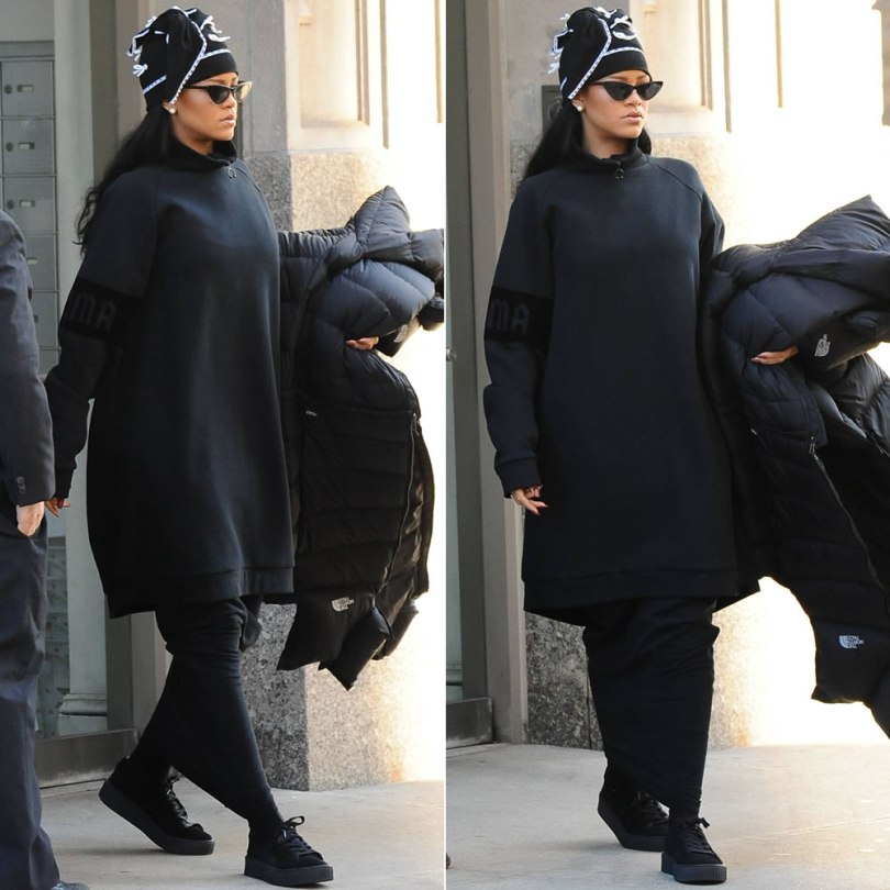 Rihanna Fenty x Puma turtleneck sweatshirt, Mr Completely custom Puma black suede creepers, Adam Selman bow beanie hat, Adam Selman x Le Specs The Hunger sunglasses, Vetements reworked North Face puffer coat