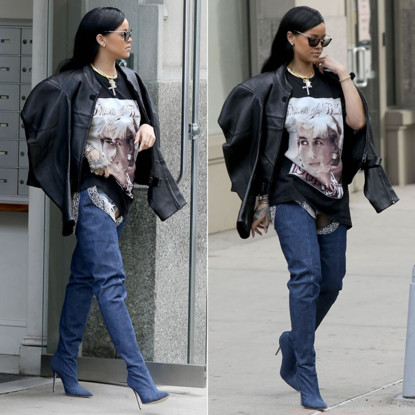 Rihanna Princess Diana vintage tee, Vetements black leather moto jacket, Rihanna x Manolo Blahnik 9 to 5 denim chap boots, Miu Miu semi-rim square sunglasses, Chopard Happy Hearts bracelet
