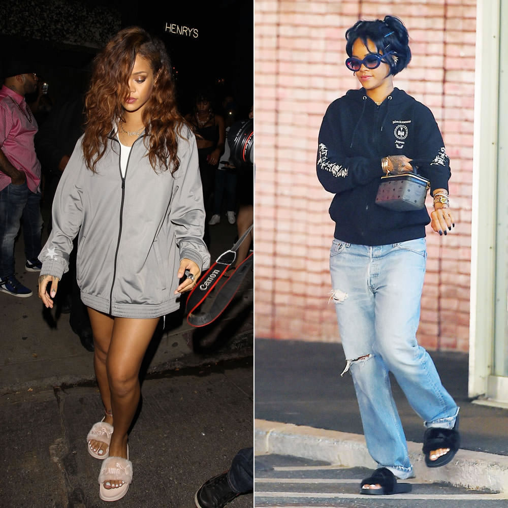 Since last summer Rihanna has been spotted numerous times wearing some cute fur  slides in various colours. The fuzzy sandals have Puma branding on them but  ... bc69b1f6c788