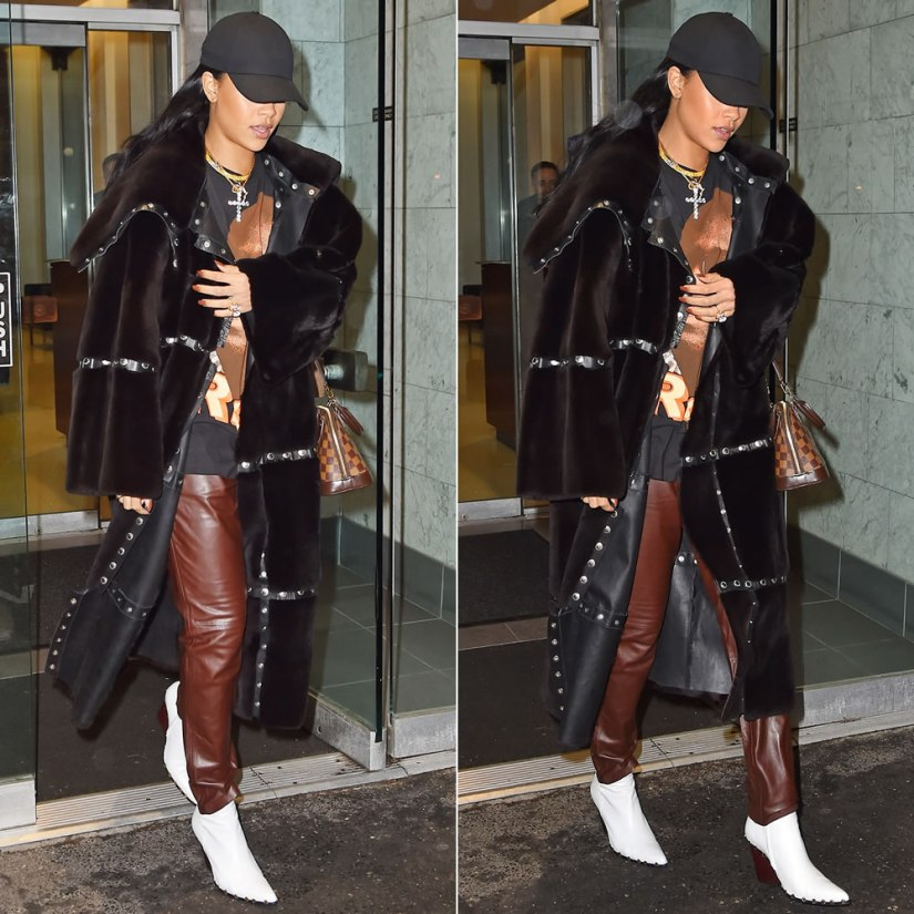 RIhanna Dolce and Gabbana brown fur and leather snaps coat, Celine Rodeo studded ankle boots, Louis Vuitton Alma BB handbag, Jacquie Aiche custom cameo rings