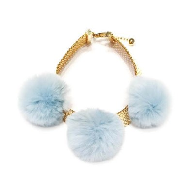 Tuleste fur pom pom choker as seen on Rihanna