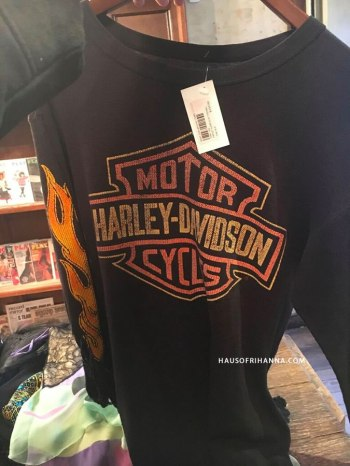 Harley-Davidson logo sweatshirt with flames from What Goes Around Comes Around as seen on Rihanna