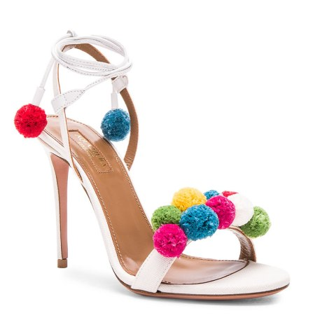 Aquazzura raffia pom pom sandals as seen on Rihanna