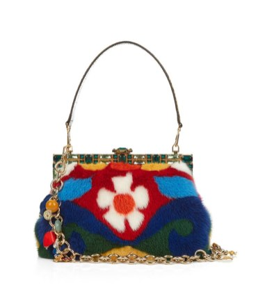 Dolce and Gabbana Vanda multicoloured mink fur handbag as seen on Rihanna