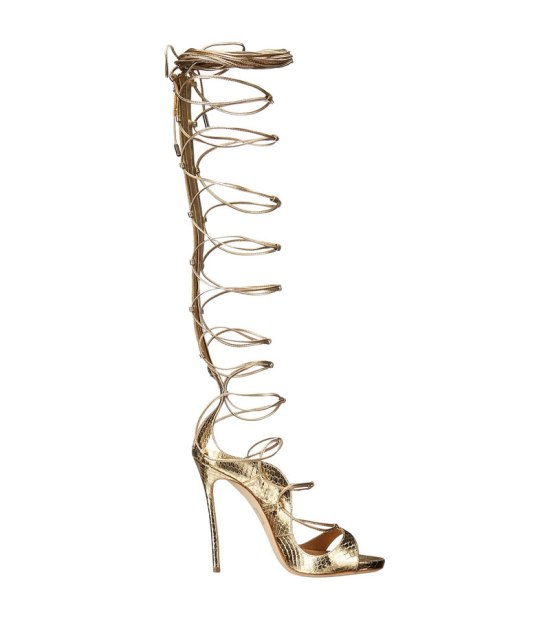 Dsquared2 Ayers Riri metallic gold wrap sandals as seen on Rihanna