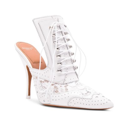 Givenchy lace-up white leather mules as seen on Rihanna