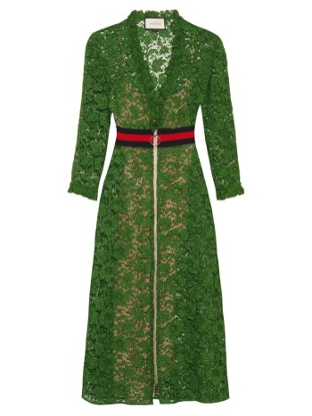 Gucci green v-neck floral lace dress as seen on Rihanna