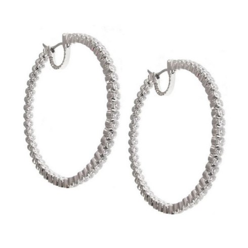 Jacob & Co white diamond hoop earrings as seen on Rihanna