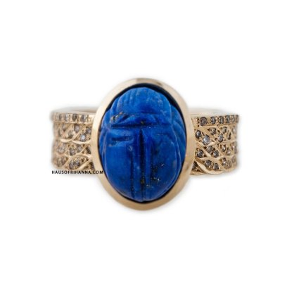 Jacquie Aiche lapis and diamond scarab ring as seen on Rihanna