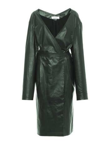 Nina Ricci green paper leather wrap dress/coat as seen on Rihanna