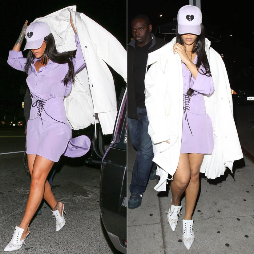 Rihanna vintage Chanel Spring/Summer 1994 lilac shirt dress and lace-up corset, Christian Dior white parka, Givenchy lace-up white leather mule sandals, Harding Lane for Opening Ceremony broken heart lilac hat