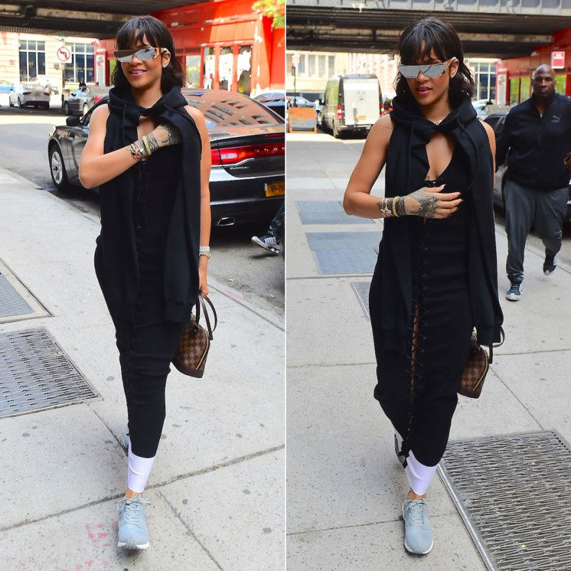Rihanna Dior silver shield sunglasses, Fenty x Puma Fall 2016 lace-up dress and cropped hoodie, Puma Aril grey sneakers, Louis Vuitton Alma BB handbag