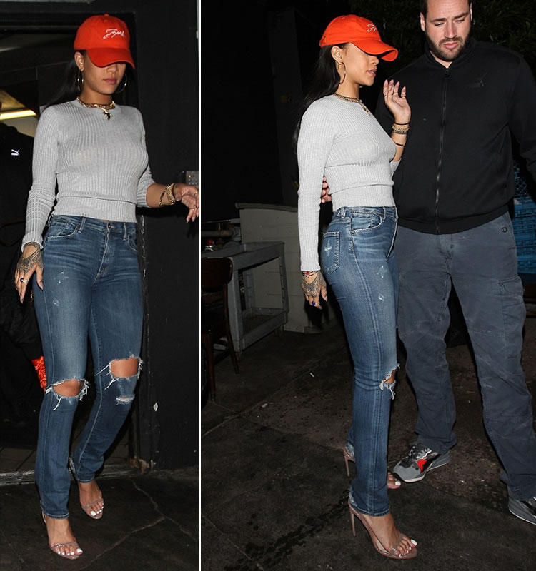 Rihanna Joyrich signature six panel cap in orange, Citizens of Humanity premium vintage Arley jeans in Ramone, Brian Atwood Aniston slingback sandals, Chopard Happy Hearts bracelets, Jacquie Aiche lapis scarab ring, KDIA gemstone dots necklace