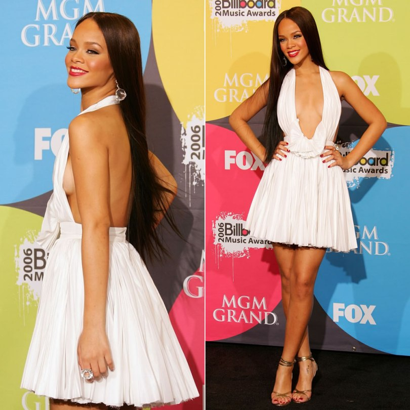Rihanna 2006 Billboard Music Awards white pleated Zac Posen halter dress