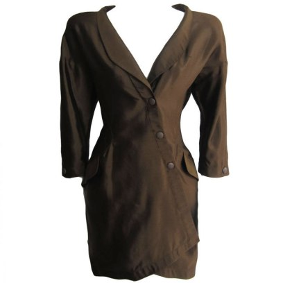 Thierry Mugler vintage 1988 brown silk jacket dress as seen on Rihanna