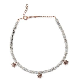 Jacquie Aiche white sapphire beaded anklet with flower charms as seen on Rihanna