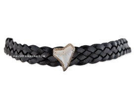 Jacquie Aiche shark tooth braided leather choker as seen on Rihanna