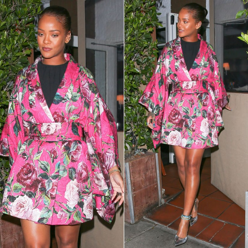 Rihanna Dolce and Gabbana floral kimono mini dress, Jacquie Aiche gemstone ear band, onyx eternity band, petal stack ring, turquoise beaded anklet
