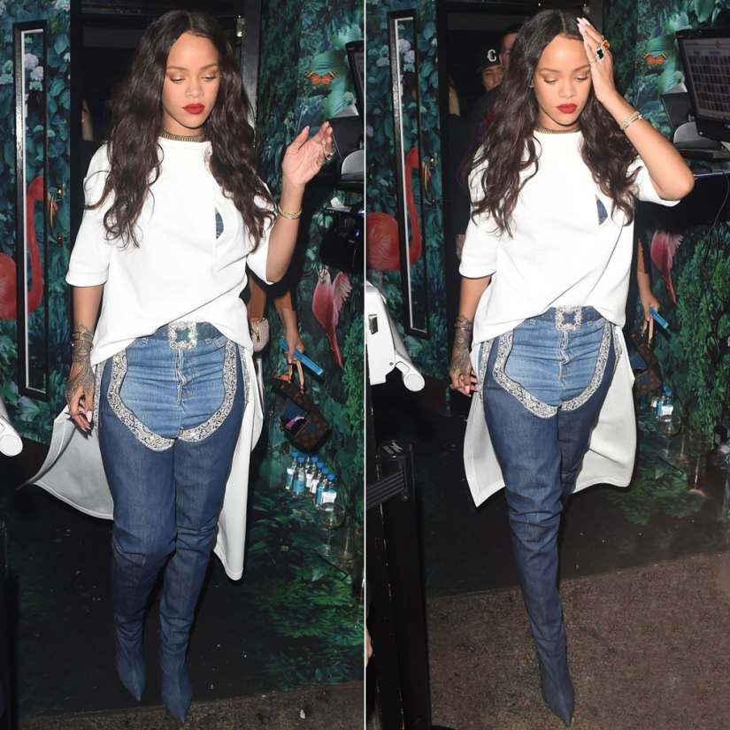 Rihanna Esteban Cortazar long white shirt, Manolo Blahnik 9 to 5 belted thigh-high chap boots, Louis Vuitton twisted box monogram bag
