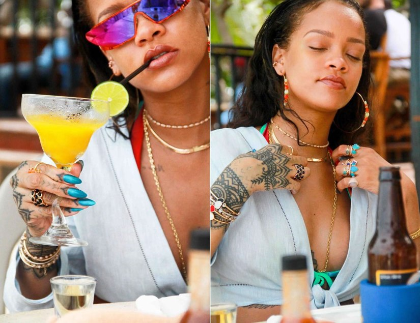 Rihanna Lisa Marie Fernandez tie front top, Ipanema reversible rainbow bikini top, Dior Rihanna red shield sunglasses, Horsenbuhs long tri-link necklace,  Jacquie Aiche gemstone hoop earrings, petal stack ring, vertical kite ring, 3x3 diamond cluster ring, onyx eternity band, Chopard happy hearts bracelet