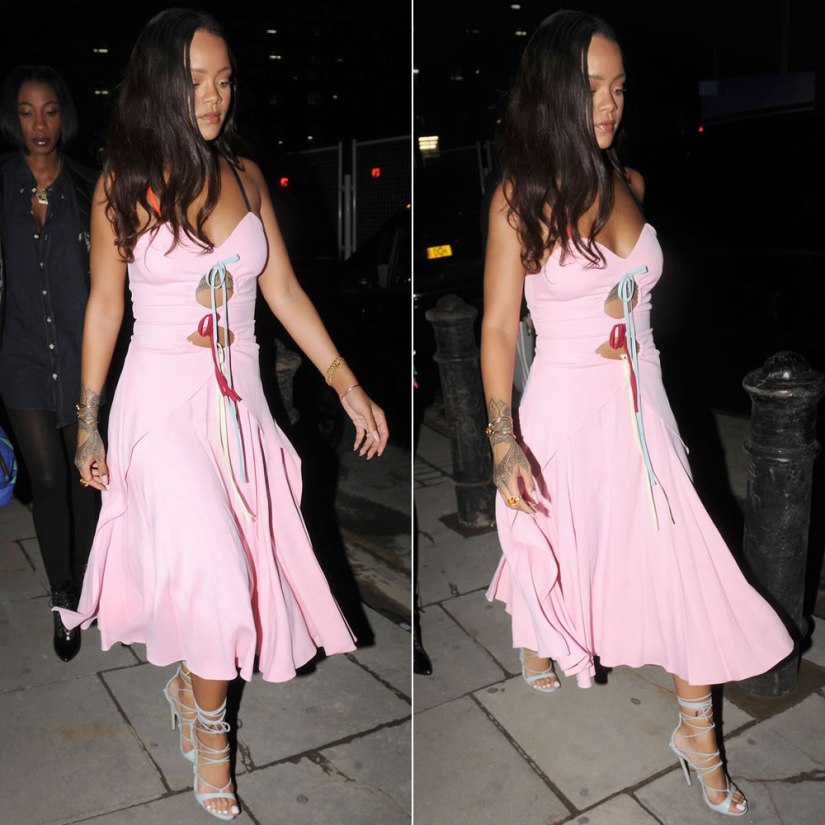 Rihanna Rosie Assoulin pink cutout dress, Dsquared2 Riri sandals, Chopard Happy Hearts bracelet