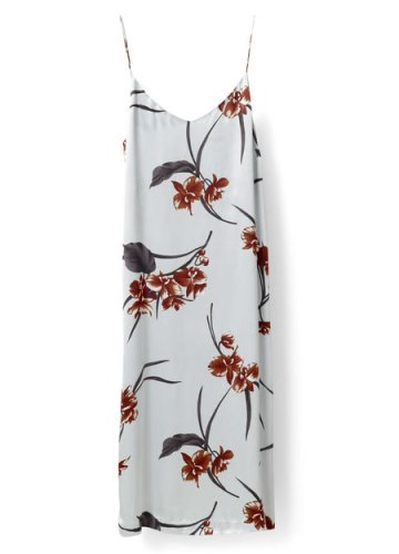Ganni floral Sanders satin slip dress as seen on Rihanna