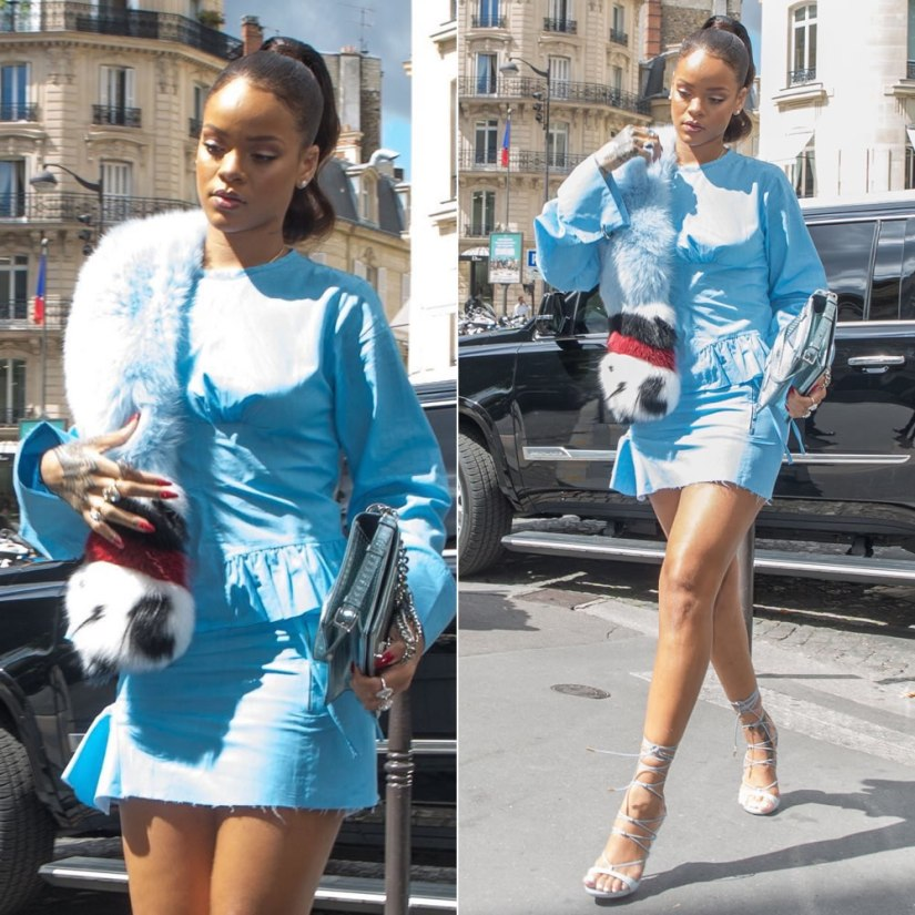 Rihanna Marques Almeida blue pleated top fall 2016 and mini skirt, Dsquared Riri sandals, Fendi Fall 2016 fur stole, Dior silver Diorama handbag