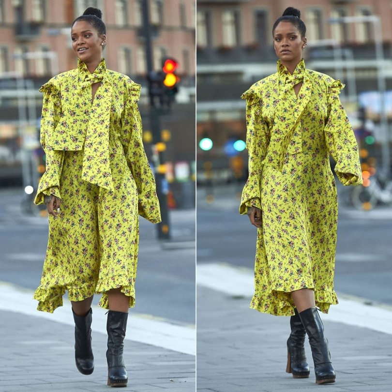 Rihanna Vetements floral print yellow dress, Prada studded platform leather boots