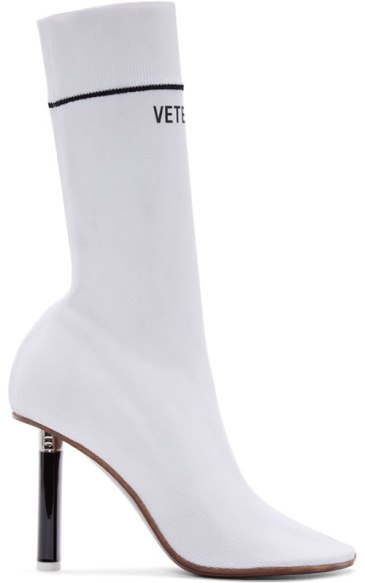 Vetements white logo sock boots as seen on Rihanna