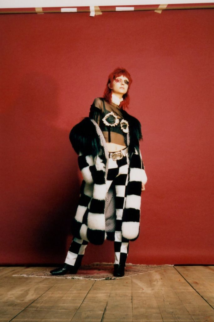 Dilara Findikoglu black and white checkered fox fur coat as seen on Rihanna