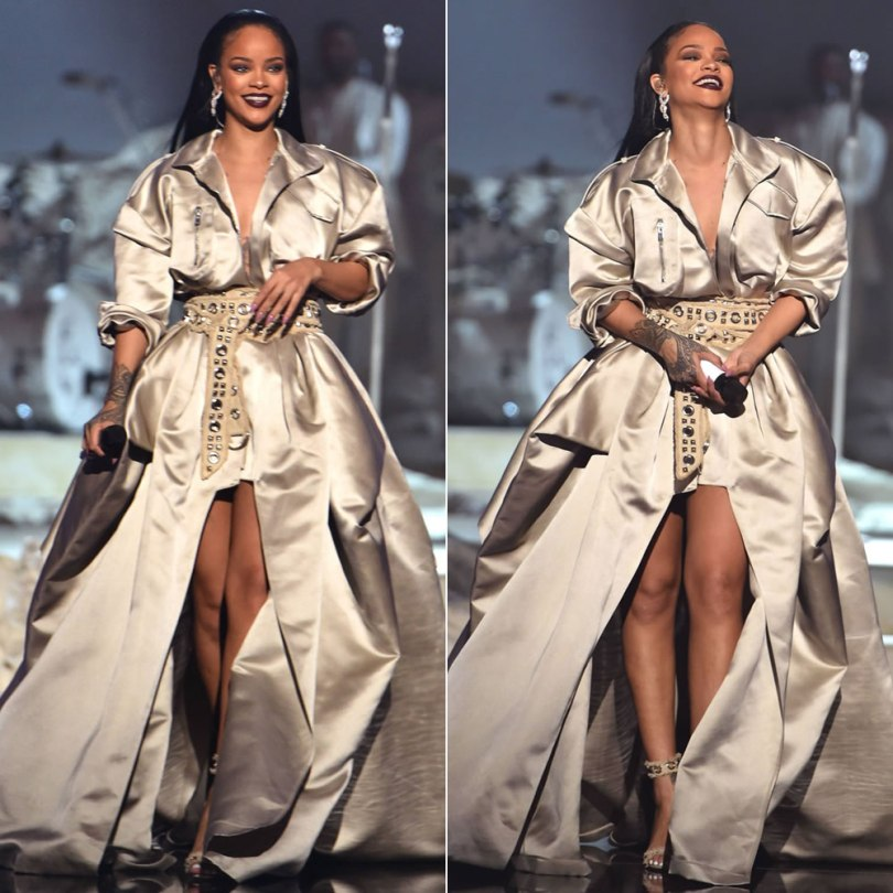 Rihanna Alexandre Vauthier champagne gold gown fall 2016 couture and grommet sandals